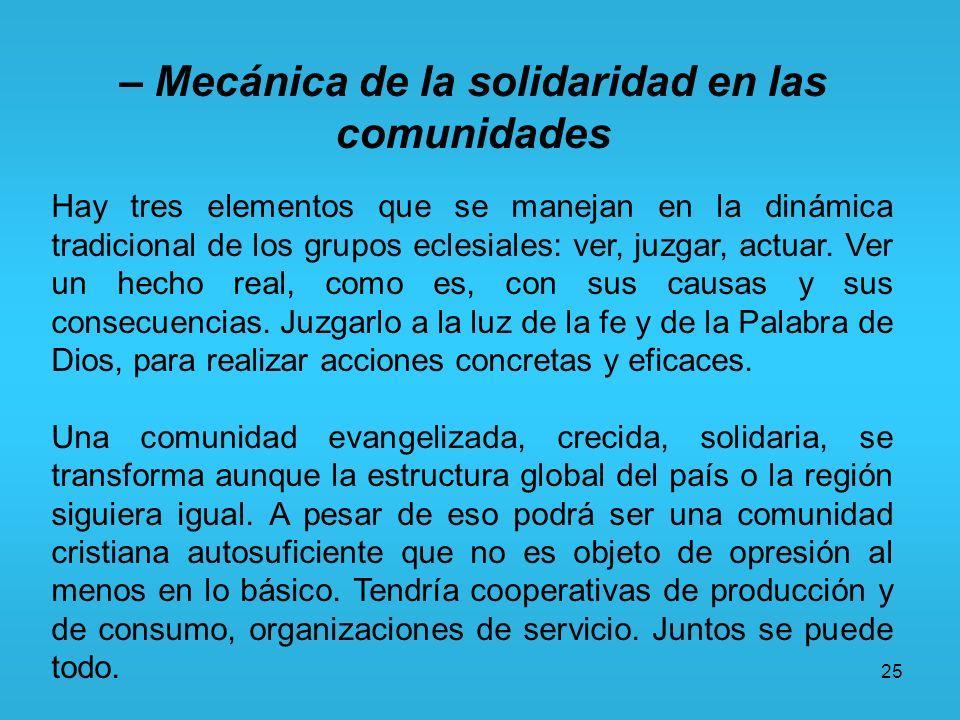 – Mecánica de la solidaridad en las comunidades