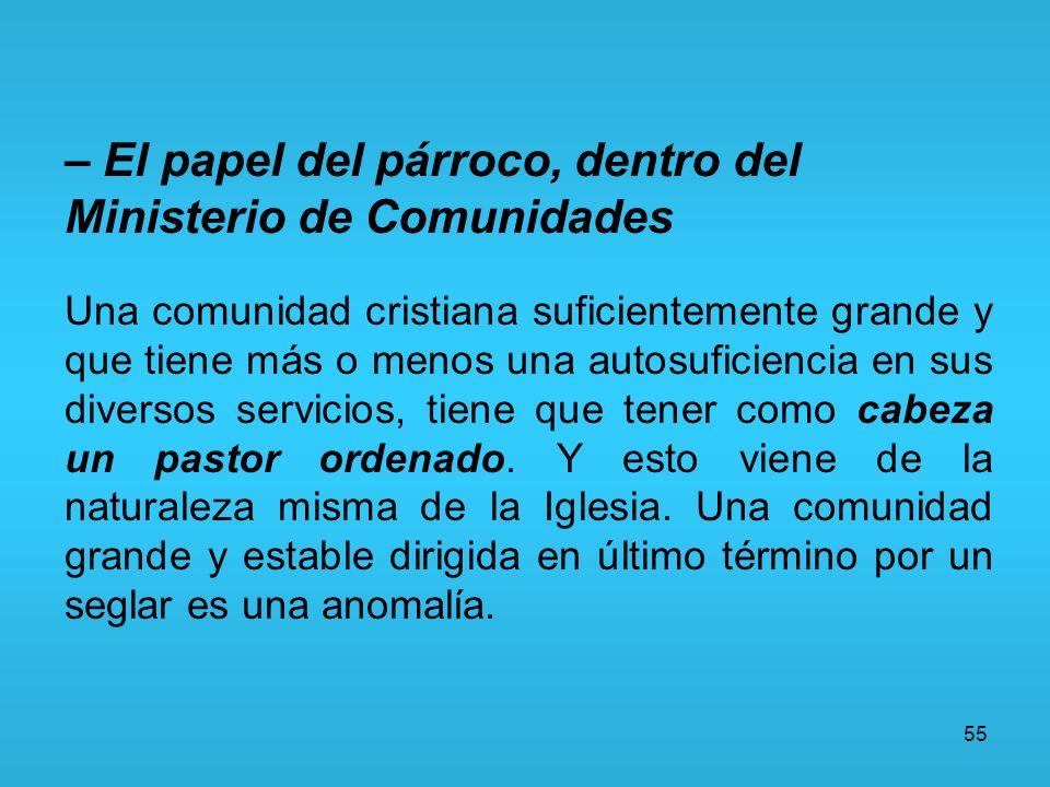 – El papel del párroco, dentro del Ministerio de Comunidades