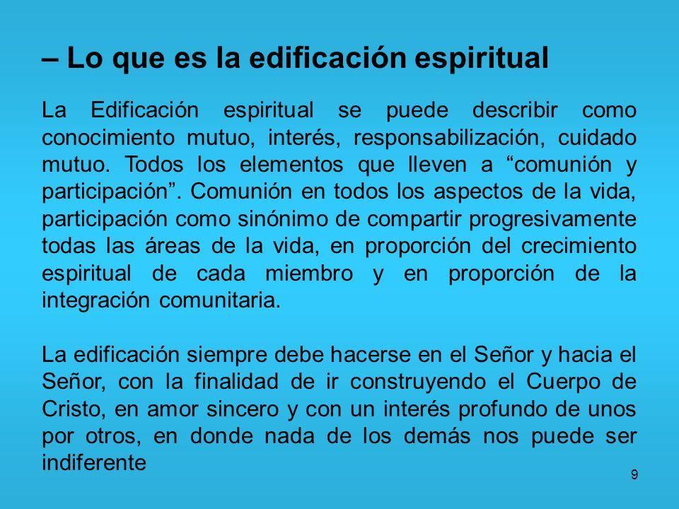 – Lo que es la edificación espiritual