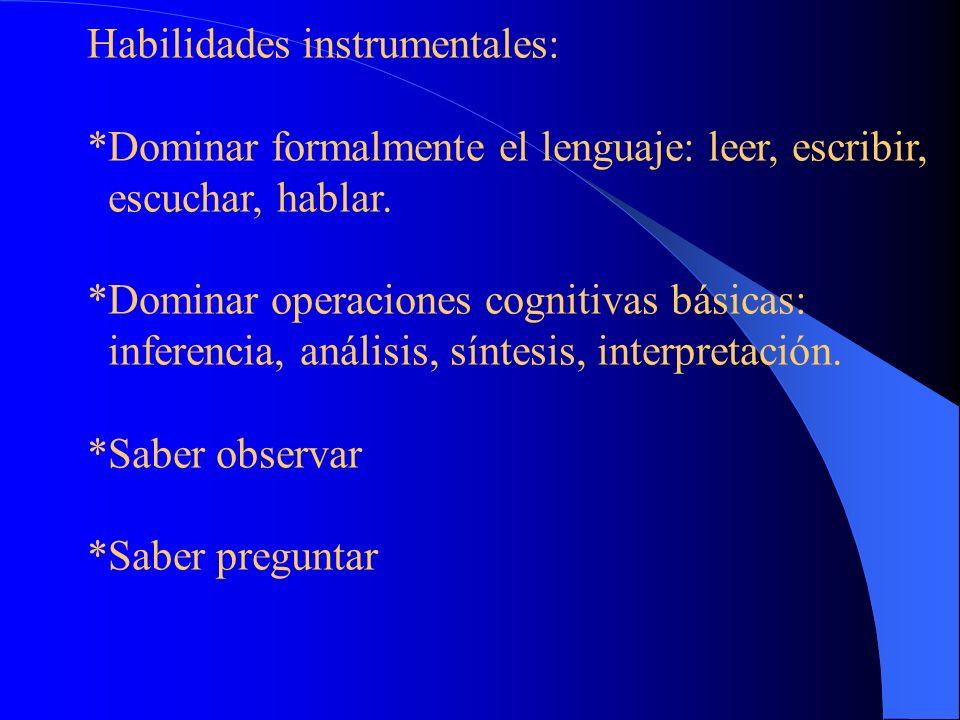 Habilidades instrumentales: