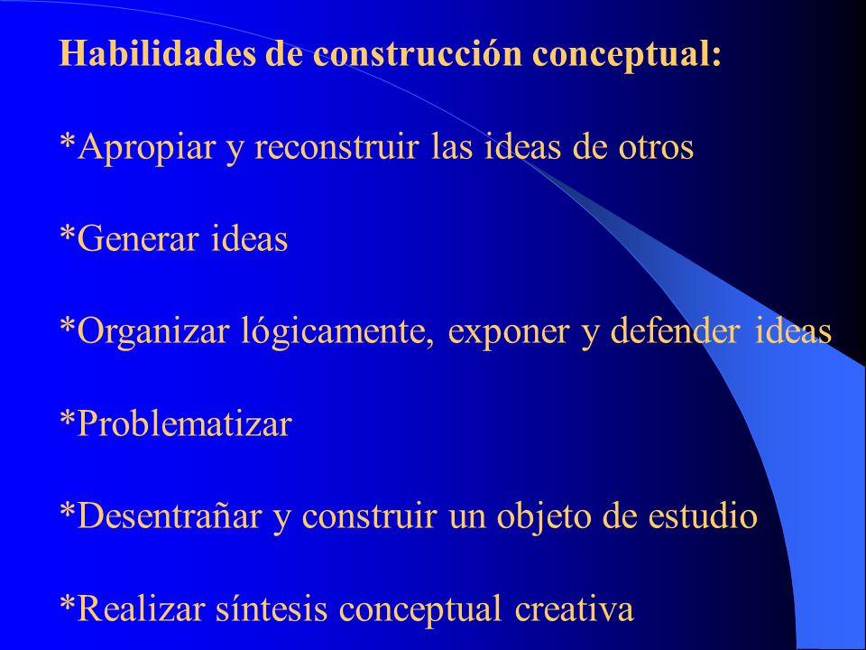 Habilidades de construcción conceptual: