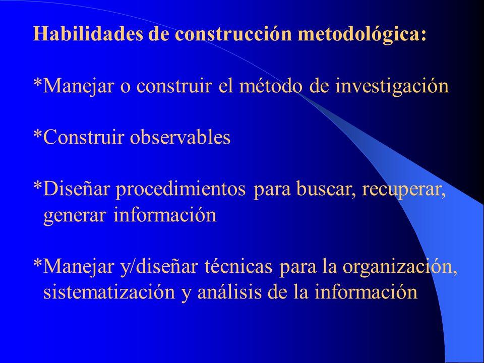 Habilidades de construcción metodológica:
