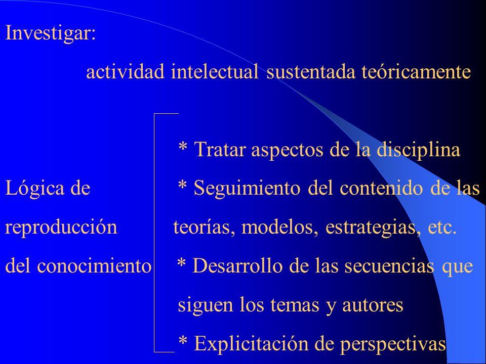 Investigar: actividad intelectual sustentada teóricamente. * Tratar aspectos de la disciplina.