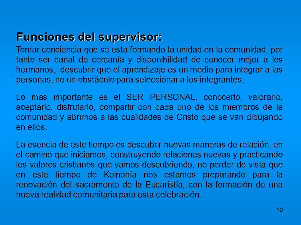 Funciones del supervisor: