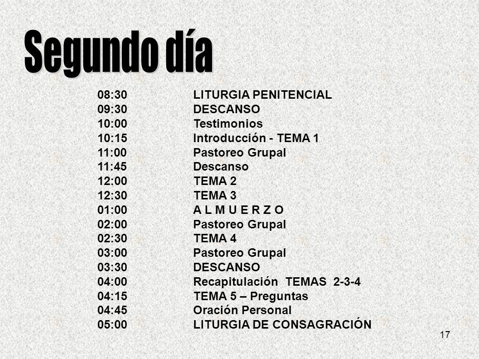 Segundo día 08:30 LITURGIA PENITENCIAL 09:30 DESCANSO