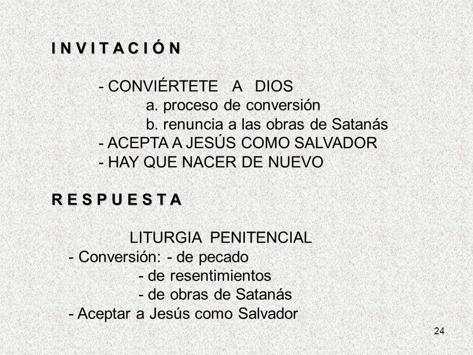 a. proceso de conversión b. renuncia a las obras de Satanás