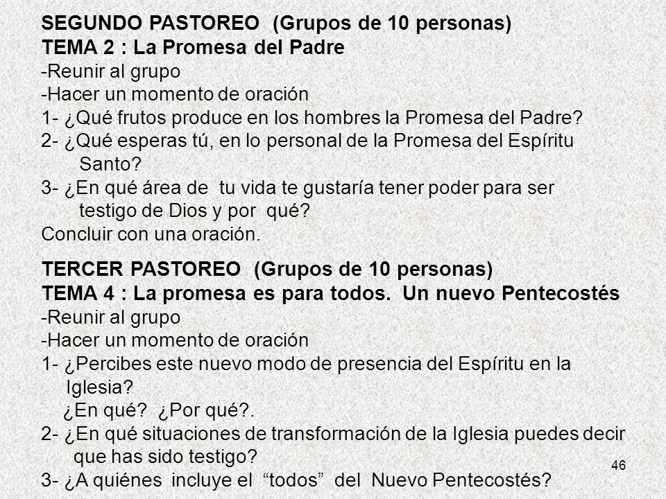 SEGUNDO PASTOREO (Grupos de 10 personas) TEMA 2 : La Promesa del Padre