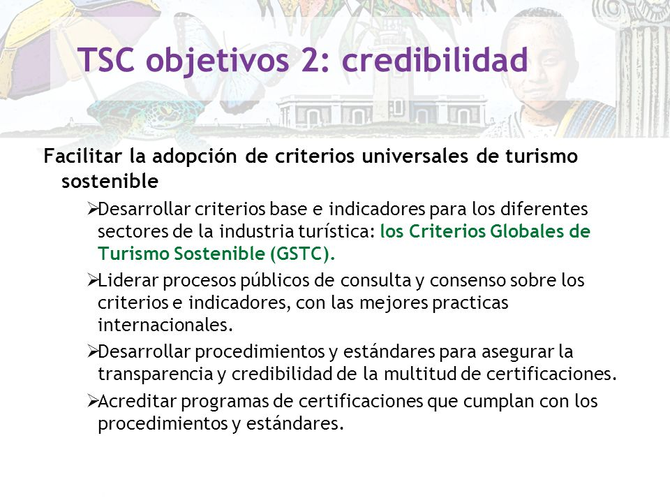 TSC objetivos 2: credibilidad