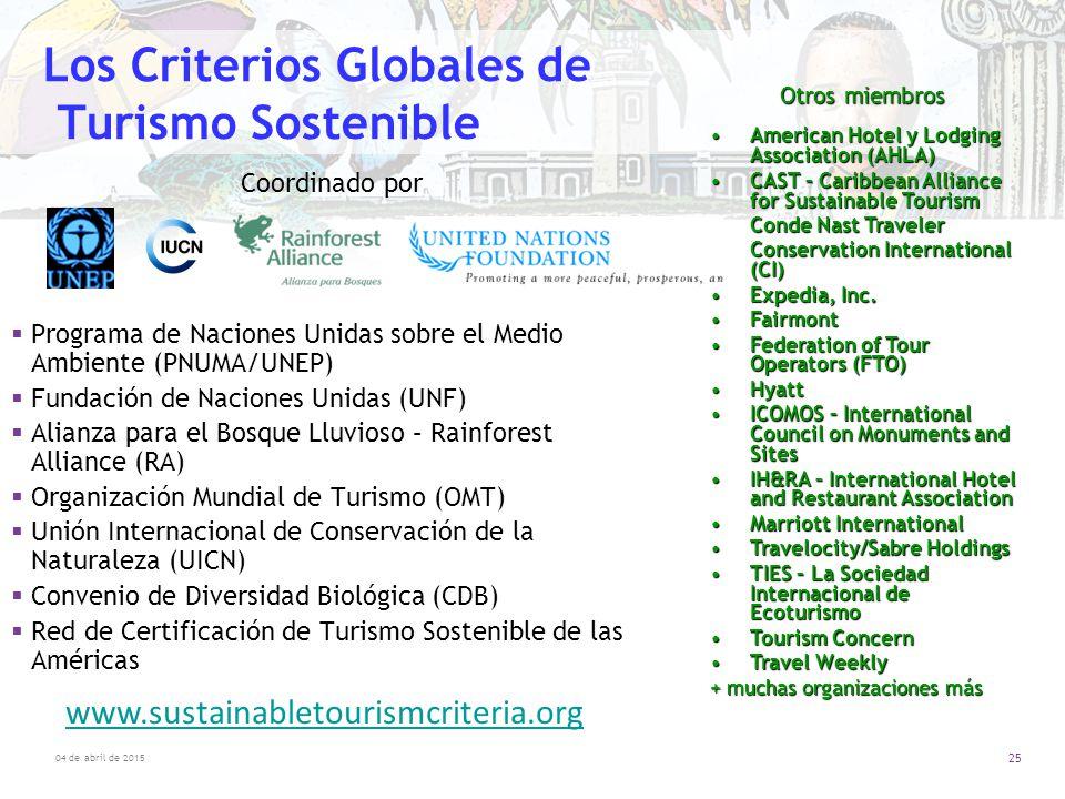 Los Criterios Globales de Turismo Sostenible
