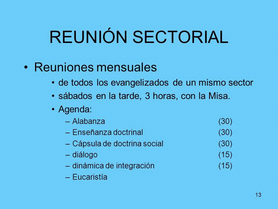 REUNIÓN SECTORIAL Reuniones mensuales
