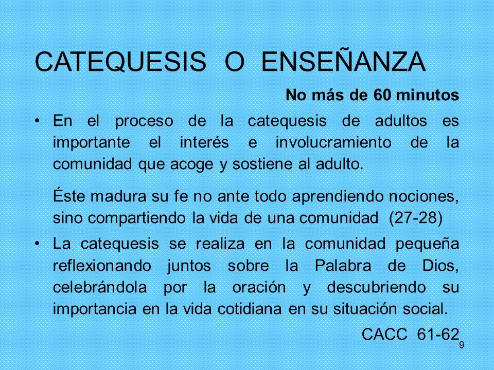 CATEQUESIS O ENSEÑANZA