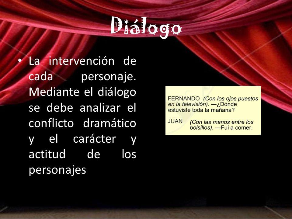 Diálogo La intervención de cada personaje.