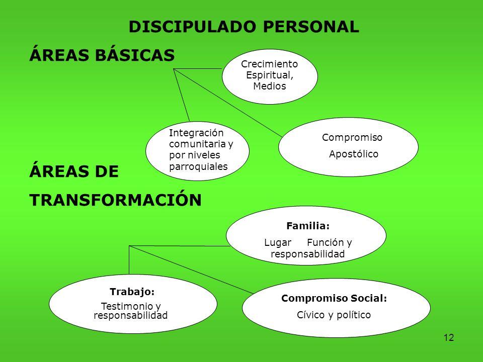 DISCIPULADO PERSONAL ÁREAS BÁSICAS ÁREAS DE TRANSFORMACIÓN