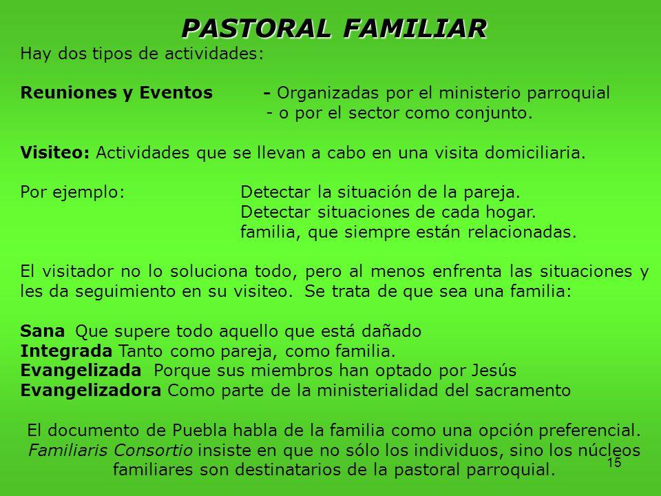 PASTORAL FAMILIAR Hay dos tipos de actividades: