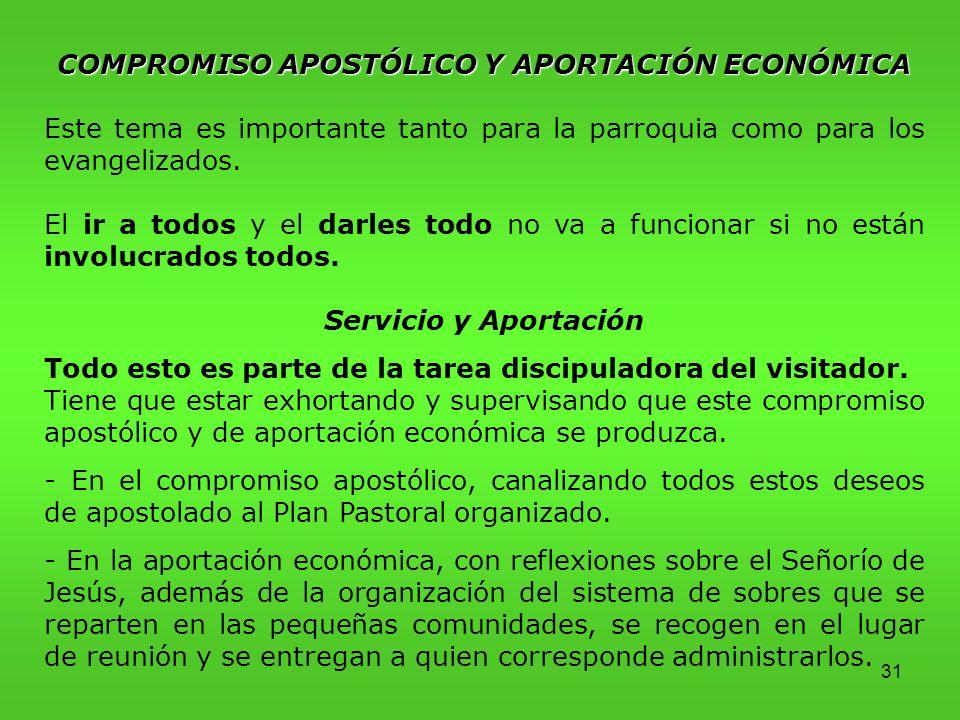 COMPROMISO APOSTÓLICO Y APORTACIÓN ECONÓMICA