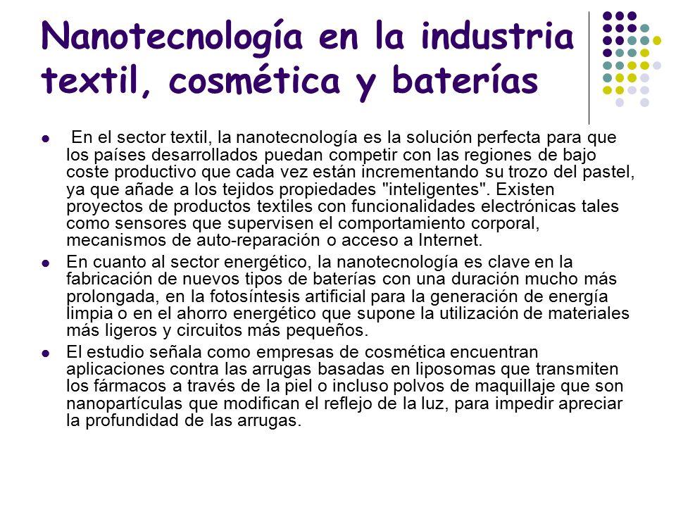 Nanotecnología en la industria textil, cosmética y baterías
