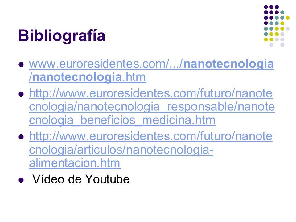 Bibliografía www.euroresidentes.com/.../nanotecnologia/nanotecnologia.htm.