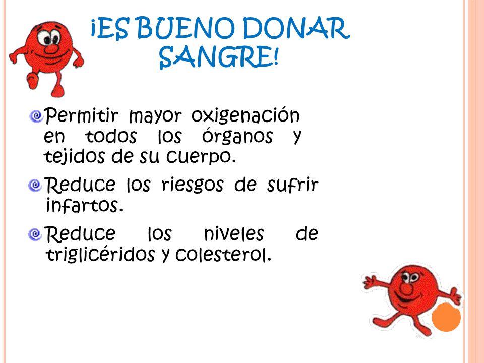 ¡ES BUENO DONAR SANGRE! Permitir mayor oxigenación en todos los órganos y tejidos de su cuerpo. Reduce los riesgos de sufrir infartos.