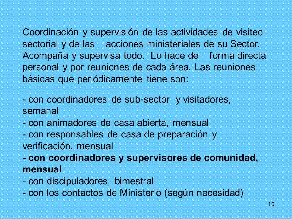 Coordinación y supervisión de las actividades de visiteo sectorial y de las acciones ministeriales de su Sector. Acompaña y supervisa todo. Lo hace de forma directa personal y por reuniones de cada área. Las reuniones básicas que periódicamente tiene son:
