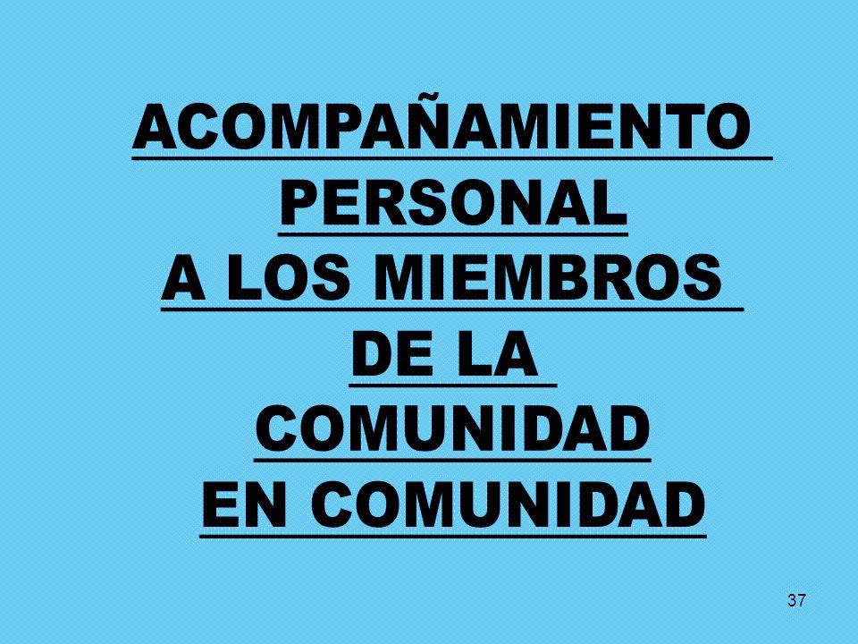 ACOMPAÑAMIENTO PERSONAL A LOS MIEMBROS DE LA COMUNIDAD EN COMUNIDAD 37