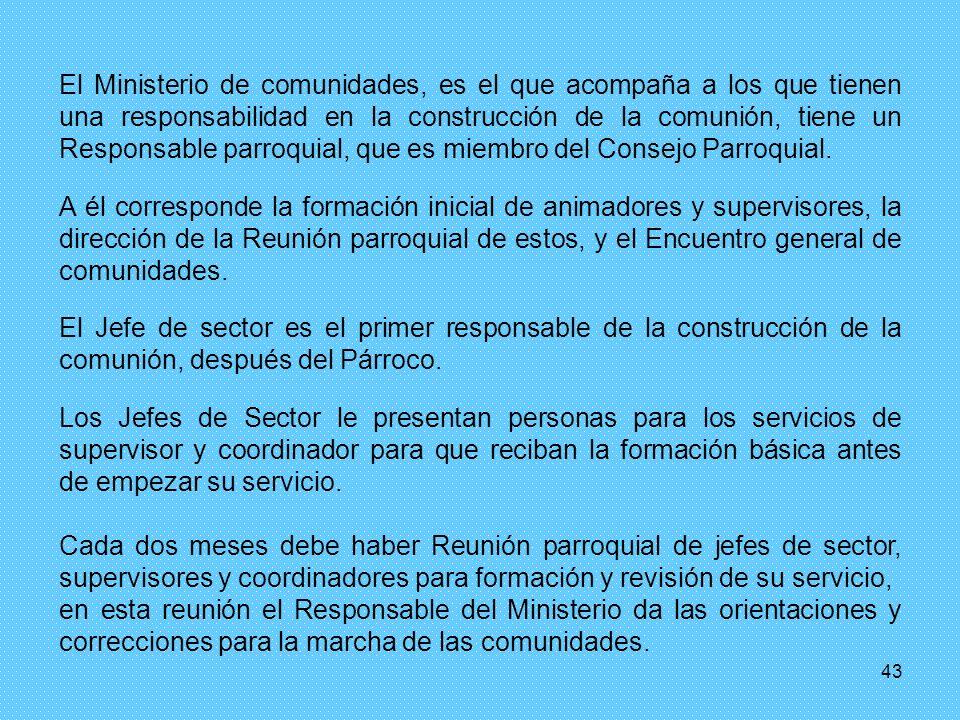 El Ministerio de comunidades, es el que acompaña a los que tienen una responsabilidad en la construcción de la comunión, tiene un Responsable parroquial, que es miembro del Consejo Parroquial.