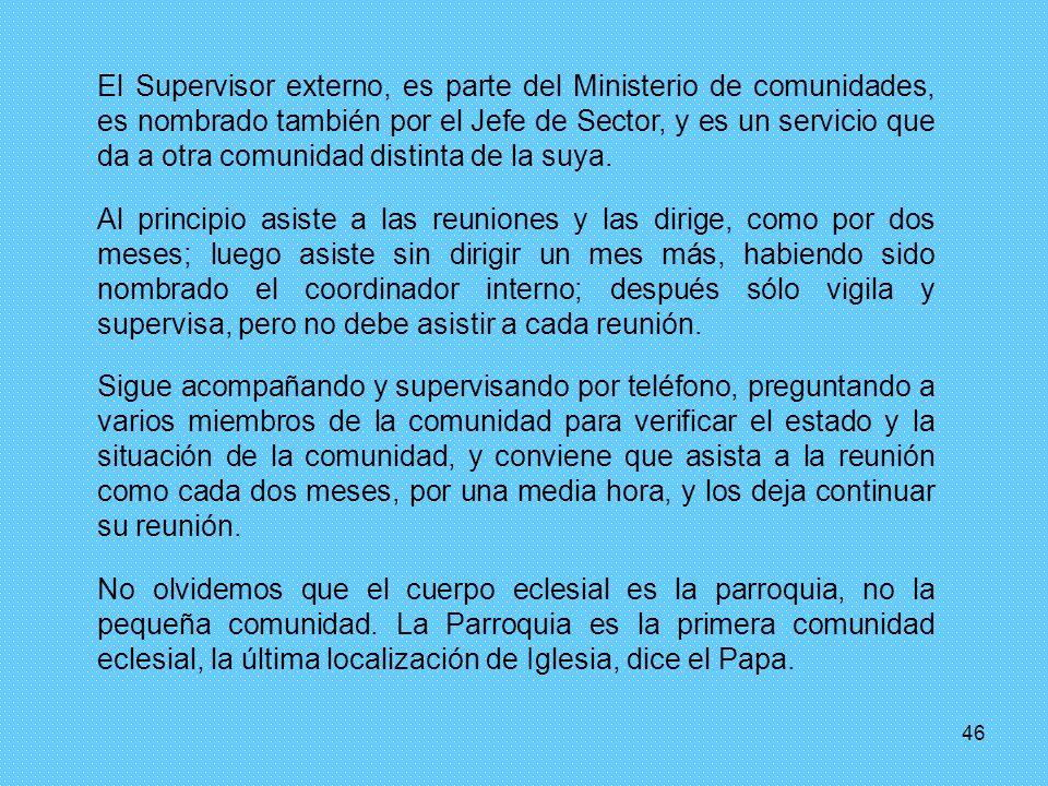 El Supervisor externo, es parte del Ministerio de comunidades, es nombrado también por el Jefe de Sector, y es un servicio que da a otra comunidad distinta de la suya.