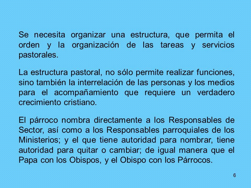 Se necesita organizar una estructura, que permita el orden y la organización de las tareas y servicios pastorales.