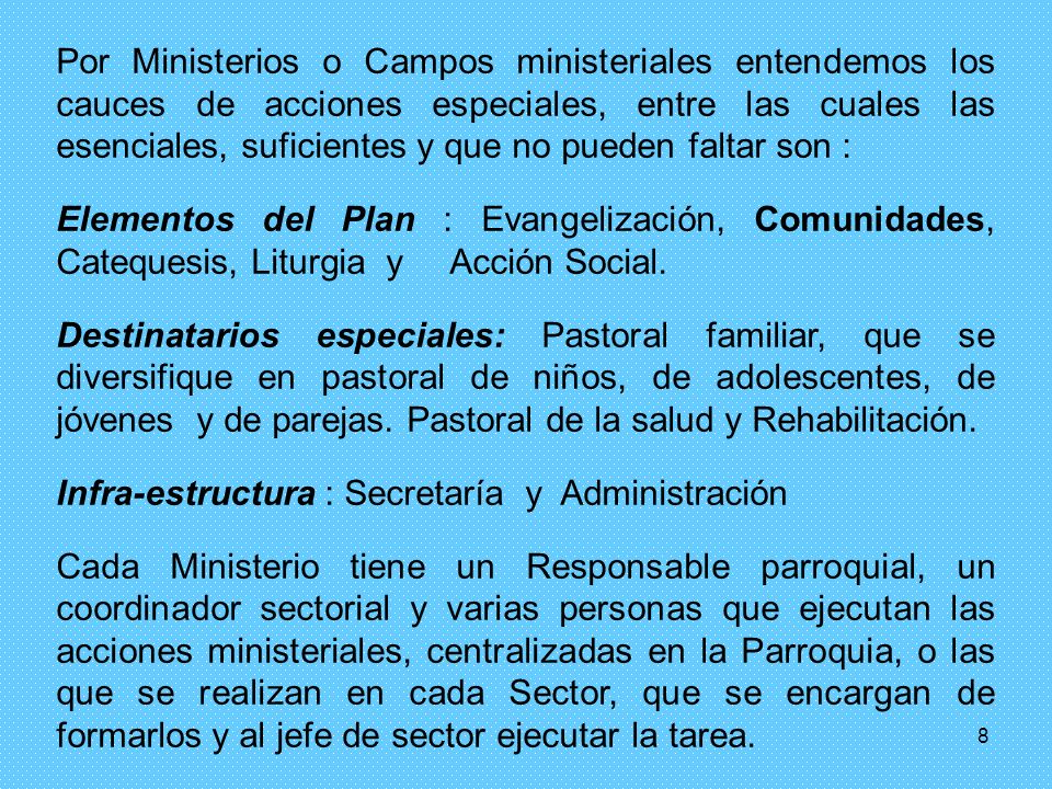 Por Ministerios o Campos ministeriales entendemos los cauces de acciones especiales, entre las cuales las esenciales, suficientes y que no pueden faltar son :