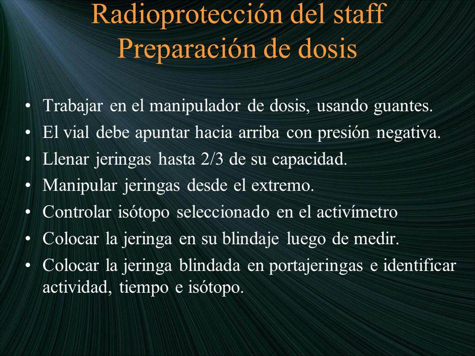 Radioprotección del staff Preparación de dosis