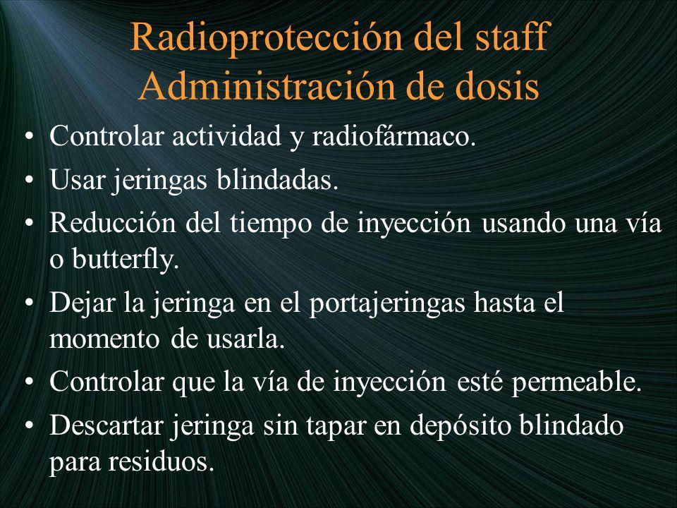 Radioprotección del staff Administración de dosis