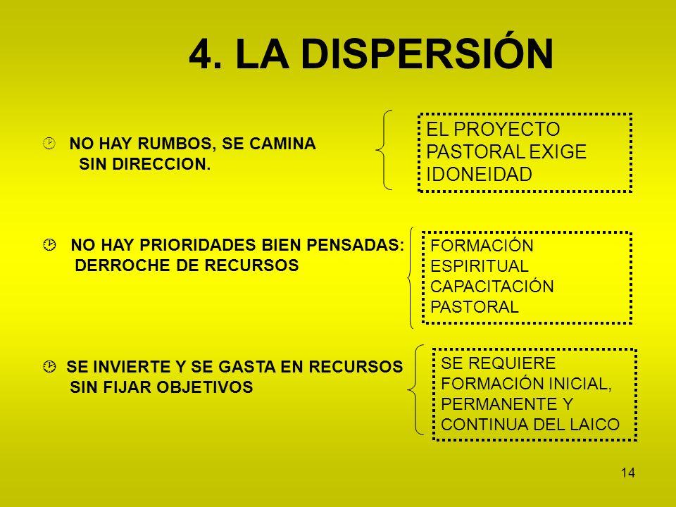 4. LA DISPERSIÓN EL PROYECTO PASTORAL EXIGE IDONEIDAD