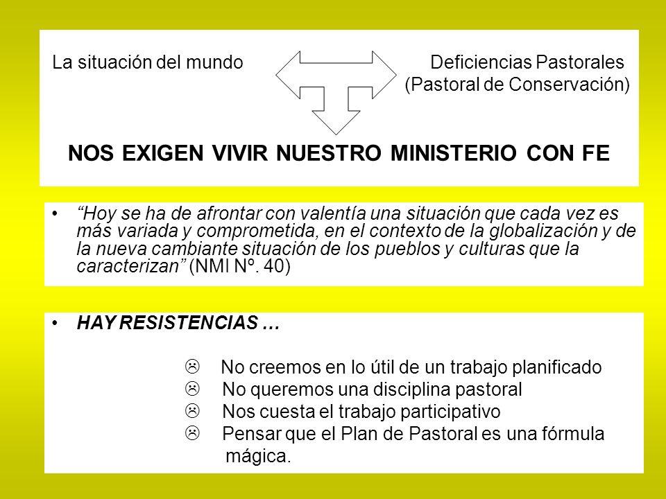 La situación del mundo Deficiencias Pastorales (Pastoral de Conservación) NOS EXIGEN VIVIR NUESTRO MINISTERIO CON FE