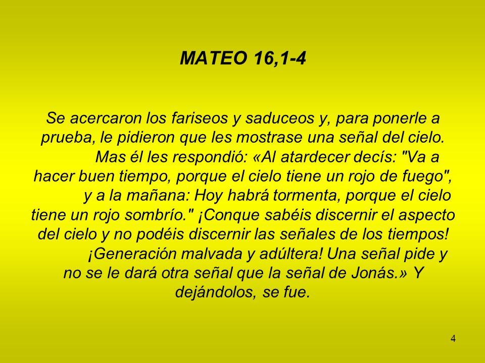 MATEO 16,1-4 Se acercaron los fariseos y saduceos y, para ponerle a prueba, le pidieron que les mostrase una señal del cielo.