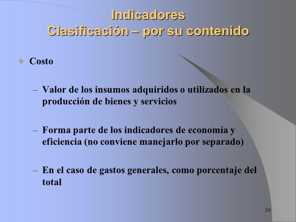 Indicadores Clasificación – por su contenido