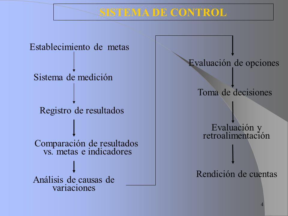 SISTEMA DE CONTROL Establecimiento de metas Evaluación de opciones