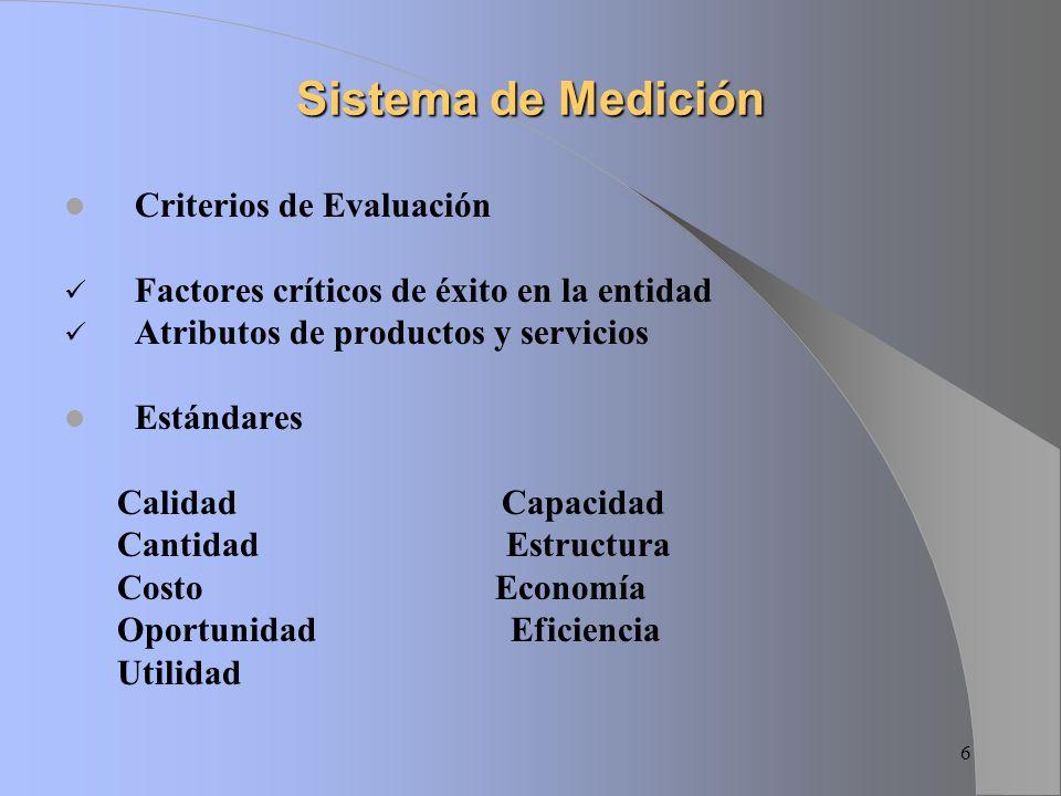 Sistema de Medición Criterios de Evaluación