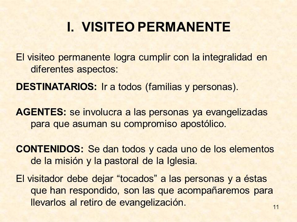 VISITEO PERMANENTE El visiteo permanente logra cumplir con la integralidad en diferentes aspectos: DESTINATARIOS: Ir a todos (familias y personas).