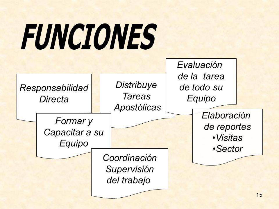 FUNCIONES Evaluación de la tarea de todo su Equipo Distribuye