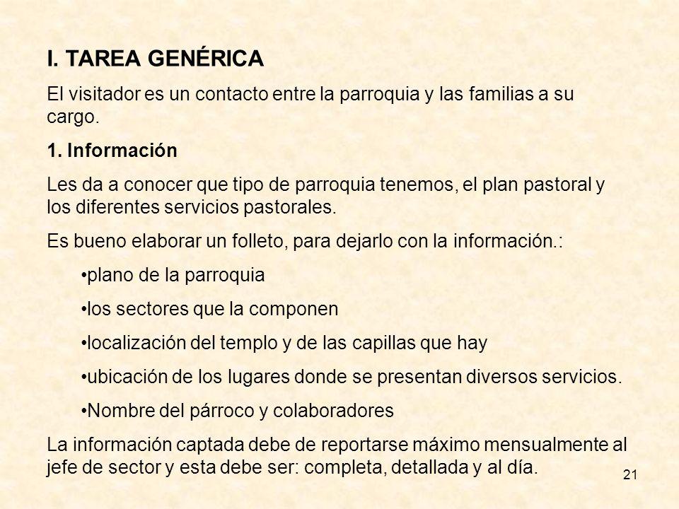 I. TAREA GENÉRICA El visitador es un contacto entre la parroquia y las familias a su cargo. 1. Información.