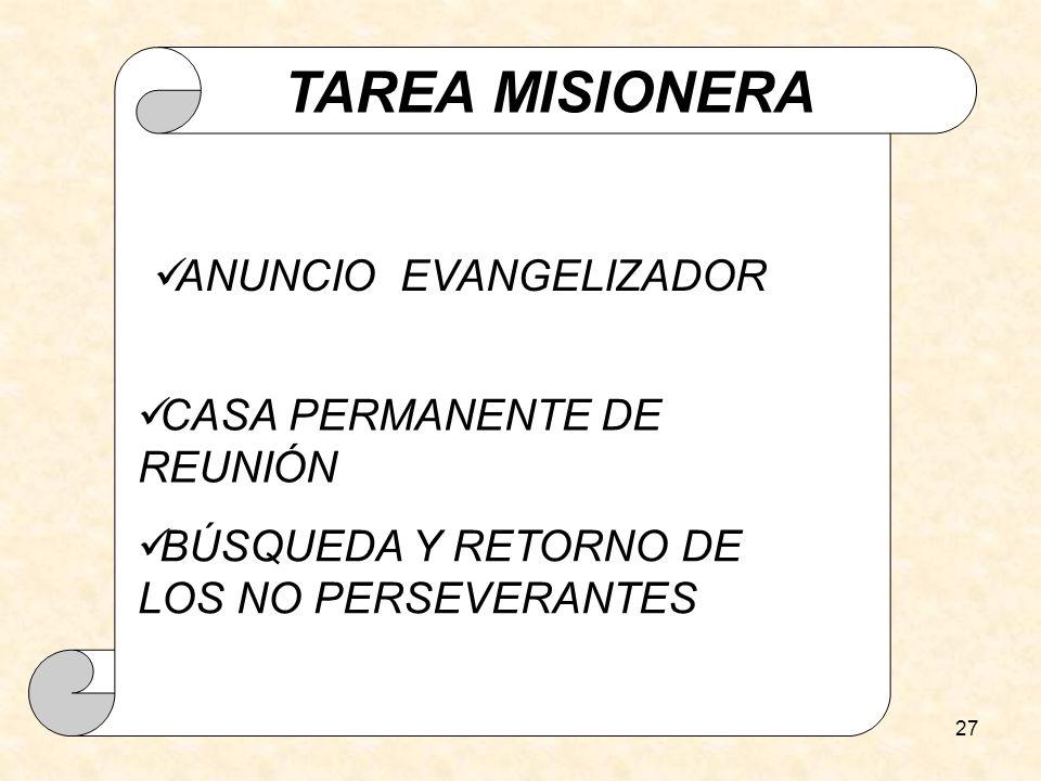 TAREA MISIONERA ANUNCIO EVANGELIZADOR CASA PERMANENTE DE REUNIÓN