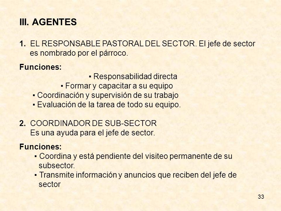 III. AGENTES 1. EL RESPONSABLE PASTORAL DEL SECTOR. El jefe de sector es nombrado por el párroco. Funciones: