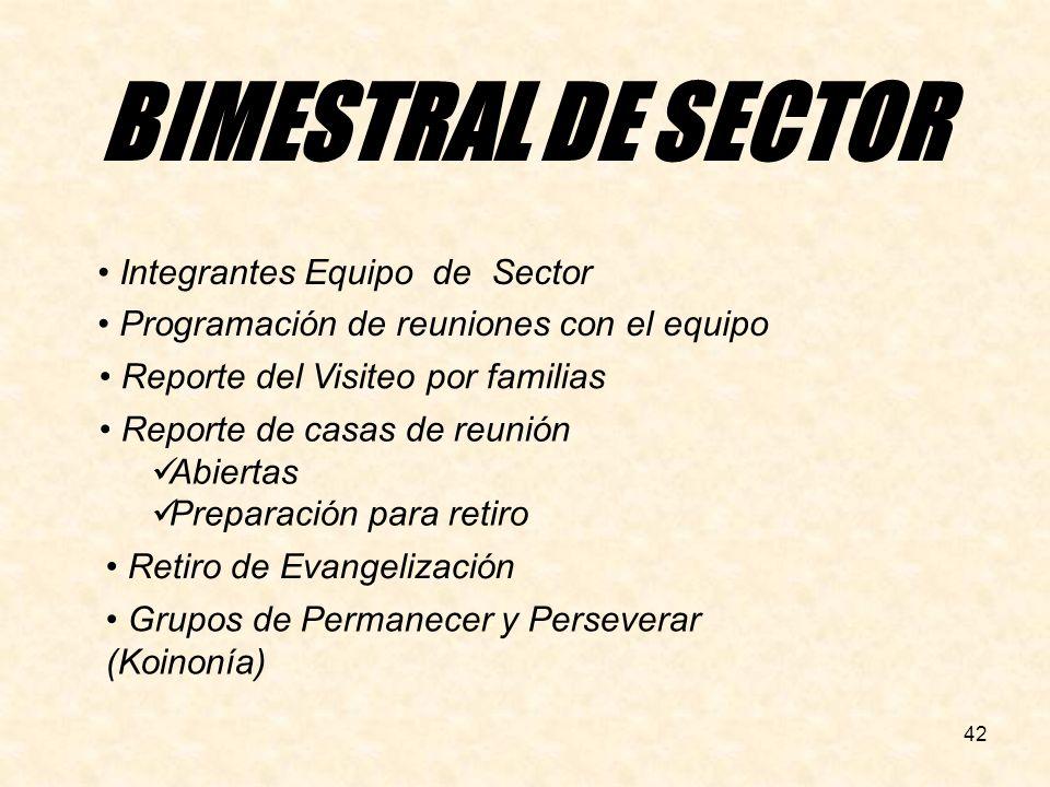 BIMESTRAL DE SECTOR Integrantes Equipo de Sector