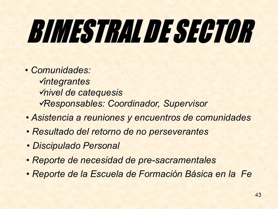 BIMESTRAL DE SECTOR Comunidades: integrantes nivel de catequesis