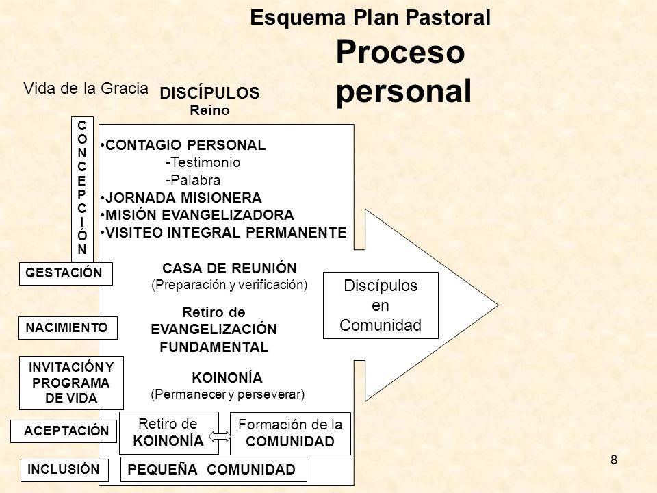 Proceso personal Esquema Plan Pastoral Vida de la Gracia DISCÍPULOS