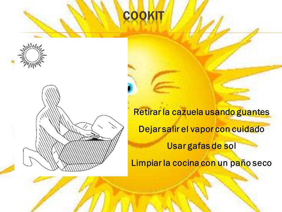 COOKIT Retirar la cazuela usando guantes
