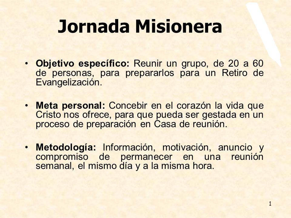Jornada Misionera Objetivo específico: Reunir un grupo, de 20 a 60 de personas, para prepararlos para un Retiro de Evangelización.