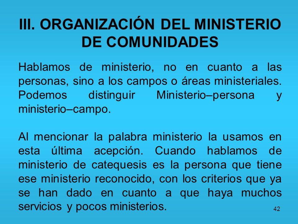 III. ORGANIZACIÓN DEL MINISTERIO DE COMUNIDADES