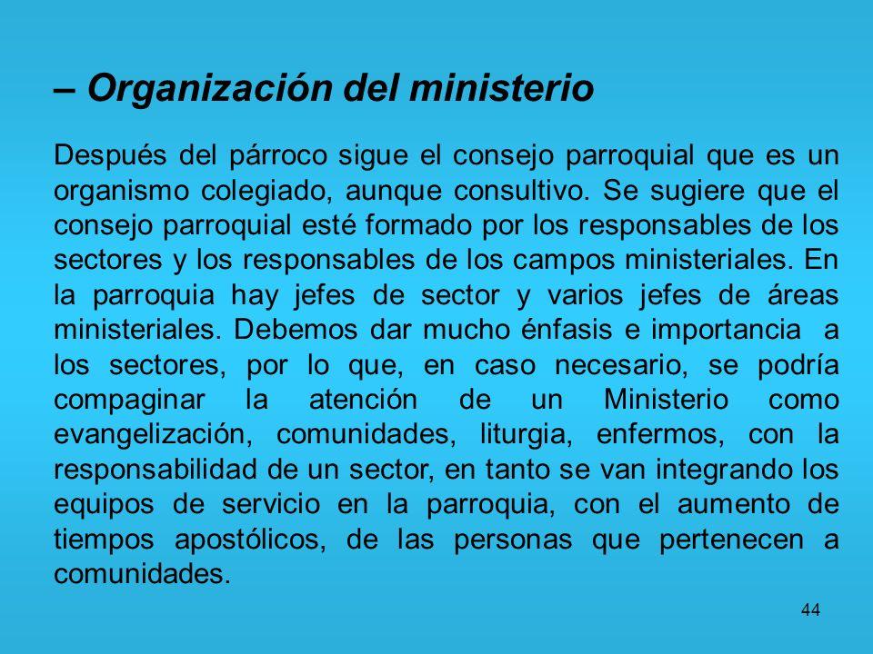 – Organización del ministerio