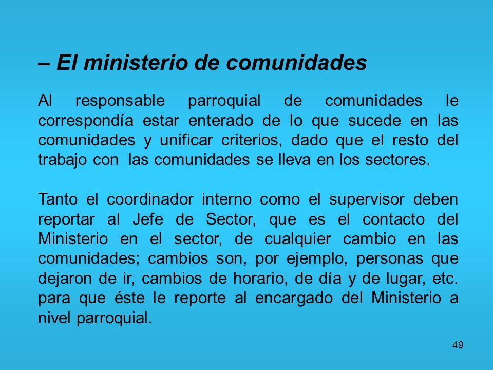 – El ministerio de comunidades