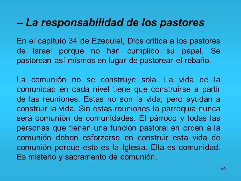 – La responsabilidad de los pastores